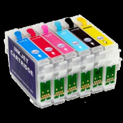 Перезаправляемые картриджи (ПЗК) (T0821-0826) для Epson St Photo R270/290/295/390/RX590/690/TX700/Т50/Т59/1410 комплект 6 шт с чипами